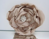 "Elegant Champagne Satin Flower Clip 3 1/2"" with Rhinestone Center"