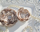 "2 Elegant Champagne Satin Flower Clips  2"" and 3"" with Rhinestone Centers"