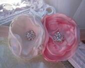 IVORY and Pale Pink Handmade Satin Flowers with Rhinestone Centers on Elastic Headband