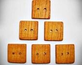 """Handmade 1"""" Square Butternut Wood Buttons"""
