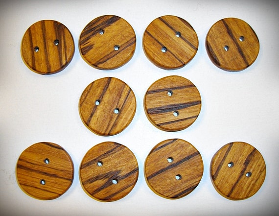 """Handmade 1"""" Zebrawood Wooden Buttons"""