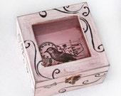 Ring Bearer Box Wedding ring box Wooden Pink Box Jewelry box distressed box Memory box Jewelry Organizer Jewelry Storage Jewelry Holder
