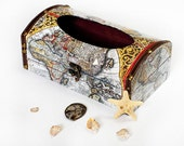 "Ancient Map Decoupaged Paper Napkin Holder Wooden Box -  10"" / 6"" / 4"" ( 26 / 15 / 10 cm.)"
