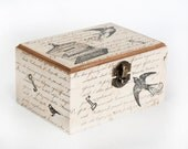 Boxes, Wooden Decoupaged Treasury Box with Swallow and Cage, Vintage  5 1/2 x 4 x 3 inch