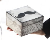 """Wooden box with a mustache. Dimensions - 4.7 / 4.7 / 2.7 """""""