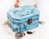 Sea Treasury Pirate Wooden Box. Dimensions - 5 1/2 / 4 / 2 1/2 ""