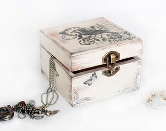 Beige Wooden Decorative Box, Ring Bearer box, Treasury Box , Jewelry box Ring Bearer Box, ohtteam