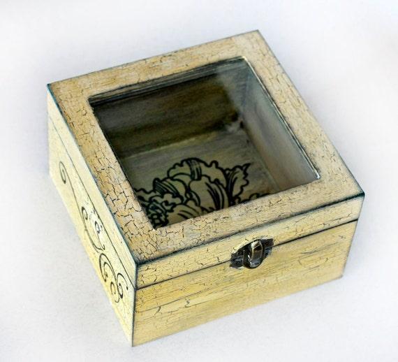 "Treasury Love Box with Window , Treasury  Box ,  Jewelry box , distressed box , vintage  6"" / 6"" / 3,5"" ( 15 / 15 / 9 cm.)"