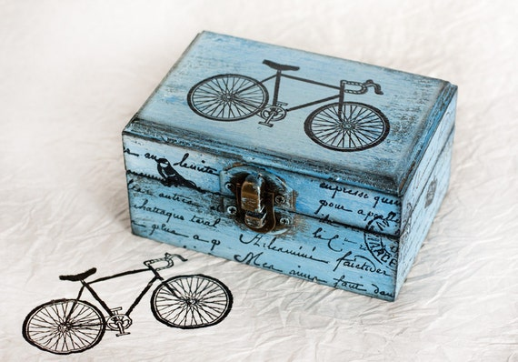 Blue Decorative  Box, Distressed Box, Treasury Box , Jewelry box, Gift for him, Gift for her, ohtteam