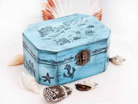 """Sea Treasury Pirate Wooden Box. Dimensions - 5 1/2 / 4 / 2 1/2 """""""