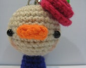 Amigurumi little Chicky with Rose keychain, ready to be shipped