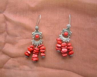 Fashion coral earrings tibetan silver