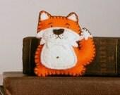 Orange fox felt brooch