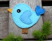 2 pcs of Little Cute Birdies Felt Appliques in Blue Color - 52x65mm
