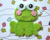 1pc - Green Frog Felt Applique - 57x52mm - made to order