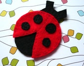 1pc - Red Lady Bug Felt Applique - 59x45mm - made to order