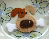 1pc - Light Brown Dog Face Felt Applique - 50x65mm - made to order