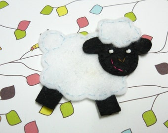 1pc - Black Face Sheep Felt Applique - 45x60mm - made to order