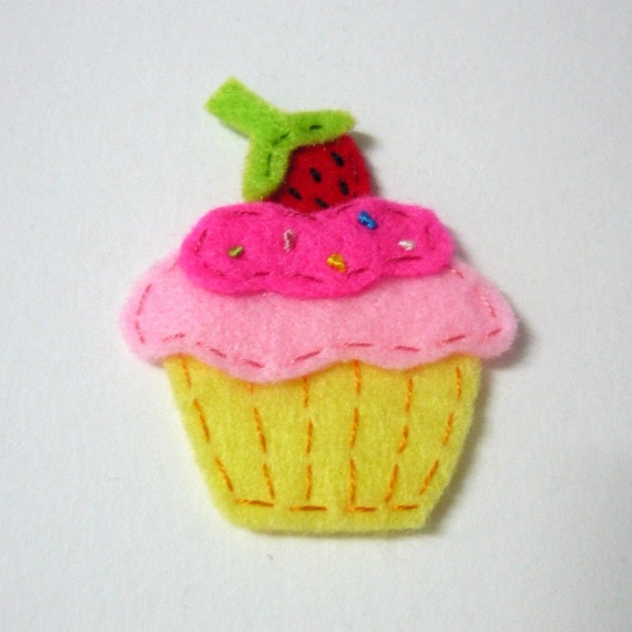 1pc - Pink Strawberry Cupcake Felt Applique - 51x44mm - made to order