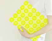 Clutch yellow neon lace - white, flower, daisy, vintage upcycled, purse, hand painted accessory OOAK