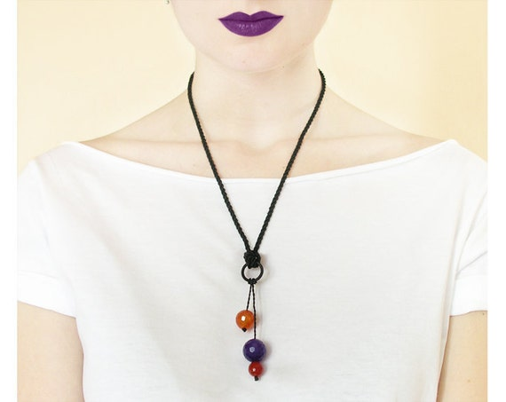 Necklace pendant tangerine orange purple - drop round beads stone black string