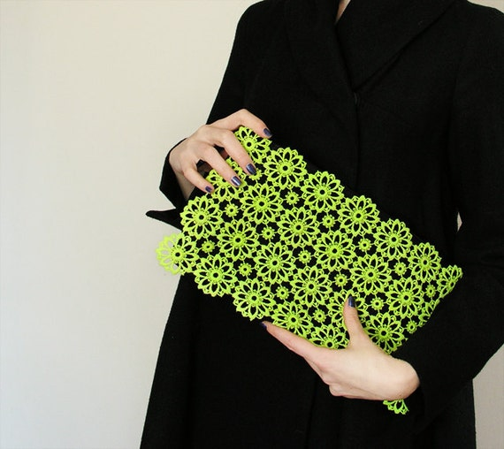 Clutch lime lace - large black, neon, vintage upcycled, large purse, hand painted accessory OOAK