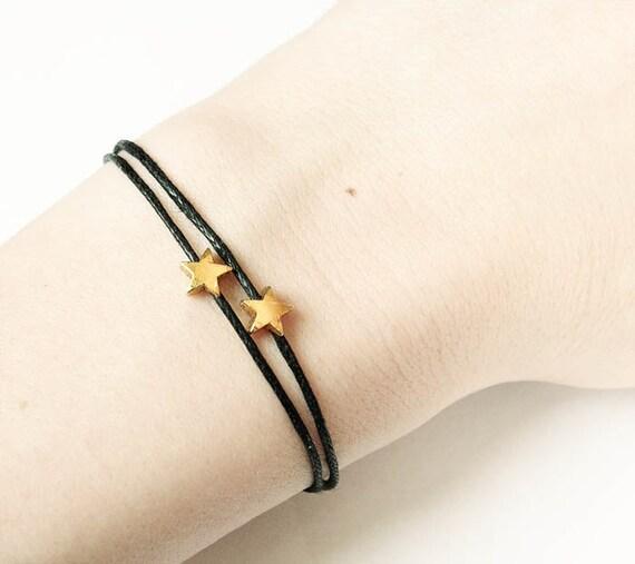 Bracelet tiny stars golden, bronze, black string