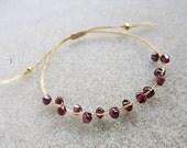 Gold Thread Bracelet : Garnet