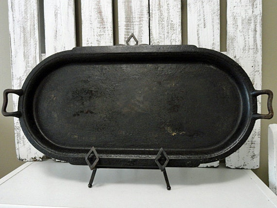 Vintage Cast Iron Oval Griddle By Rusticattic On Etsy
