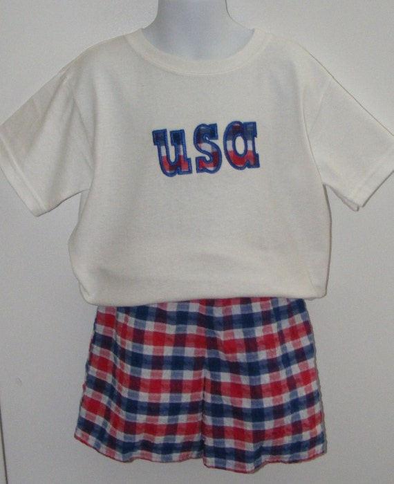 Redwhite and blue plaid seersucker shorts with matching usa for Red white and blue plaid shirt