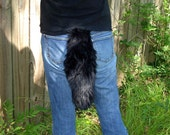 Black Wolf Tail Faux Fur with Clasp
