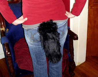 """Black Wolf Tail Fox Faux Fur with Clasp 12"""""""