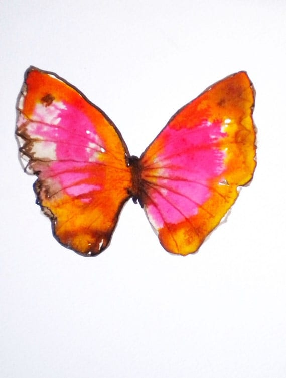 pink and orange butterfly. original watercolour on paper.