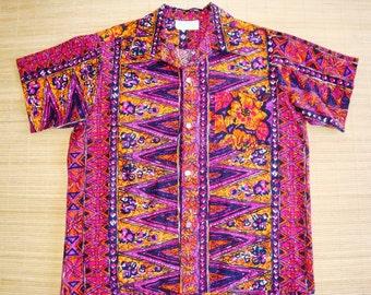 Mens 60s Vintage Made in hawaii Tribal Tiki Surf Hawaiian Shirt - L - The Hana Shirt Co