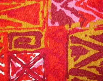Mens Vintage 60s Mod Tiki Bark Cloth Tapa Hawaiian Aloha Shirt - M - The Hana Shirt Co