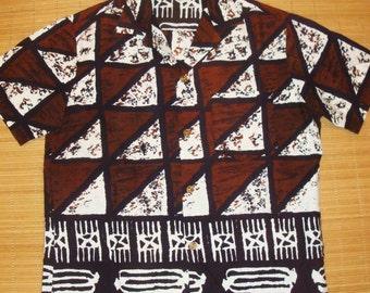 Mens Vintage 60s Rockabilly Tiki Tribal Hawaiian Aloha Shirt L The Hana Shirt Co