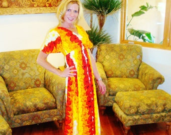 Ladies Vintage 70s Rockabilly Hawaiian Long Luau Hukilau Tiki Oasis Dress - M - The Hana Shirt Co