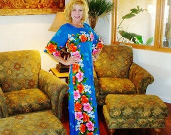 Ladies Vintage 60s UI Maikai Bark Cloth Hawaiian Long Dress - M - The Hana Shirt Co