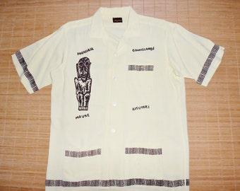 Mens Vintage 60s Mayfair Polynesian Islands Hawaiian Aloha Cabana Tiki Surf Shirt - L - The Hana Shirt Co