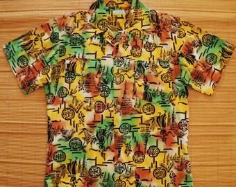 RARE Men's Vintage 40s Asian Fusion Rockabilly Hawaiian Aloha Shirt - M - The Hana Shirt Co