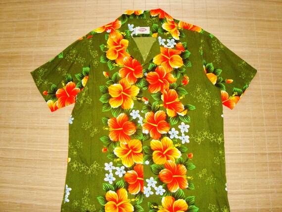 Mens Vintage 70s Pomare Hawaiian MOd Pop Art Bark Cloth Hukilau Tiki Shirt L The Hana Shirt Co