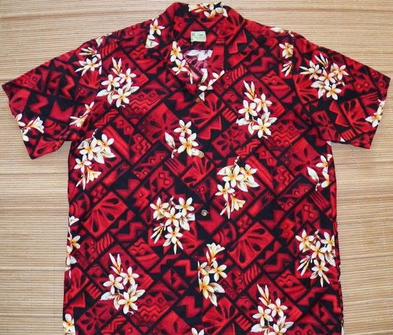 Men's Vintage 60s Hawaiiana Plumeria Hawaiian Aloha Surf Shirt - L - The Hana Shirt Co
