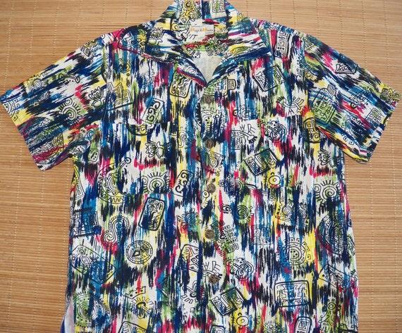 Mens Vintage 60s Mexico Aztec Hawaiian Aloha Shirt - M - The Hana Shirt Co