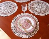 "Handmade Doily Crochet Placemat Set of 2 - Ivory - Round 14.56"" / 37cm"