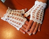 White -  Bridal fingerless gloves ,Crochet cotton  Free shipping