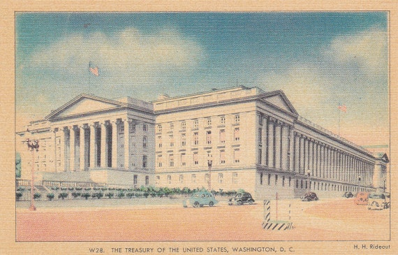 The Treasury of the United States - Vintage Linen Postcard - Unused