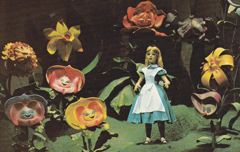 Alice in Wonderland and Singing Flowers Vintage Walt Disney