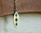 Vintage Southwestern Necklace Inlaid Turquoise and Silver SALE