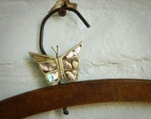 Butterfly Brooch Pin Abalone and Vintage Mexican Alpaca SALE