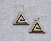 Vintage Tribal Earrings Geometric Triangle Maze SALE